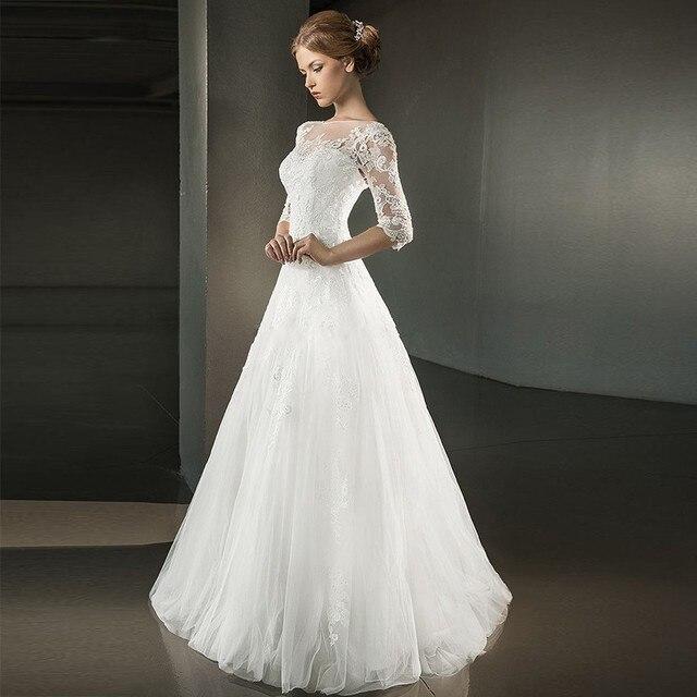 Aliexpress.com : Buy Cheap Long A Line Wedding Dresses With Half ...