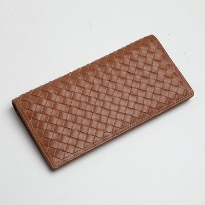 LANSPACE мужские кошельки тканый кожаный кошелек брендовый кошелек Чехол - Цвет: Distress Brown
