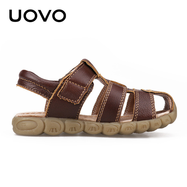 UOVO 2019 Summer Kids Shoes Brand Closed-Toe Toddler Boys Sandals Orthopedic Sport Leather Baby Sandals Boys Beach Shoes 21#-30# 2