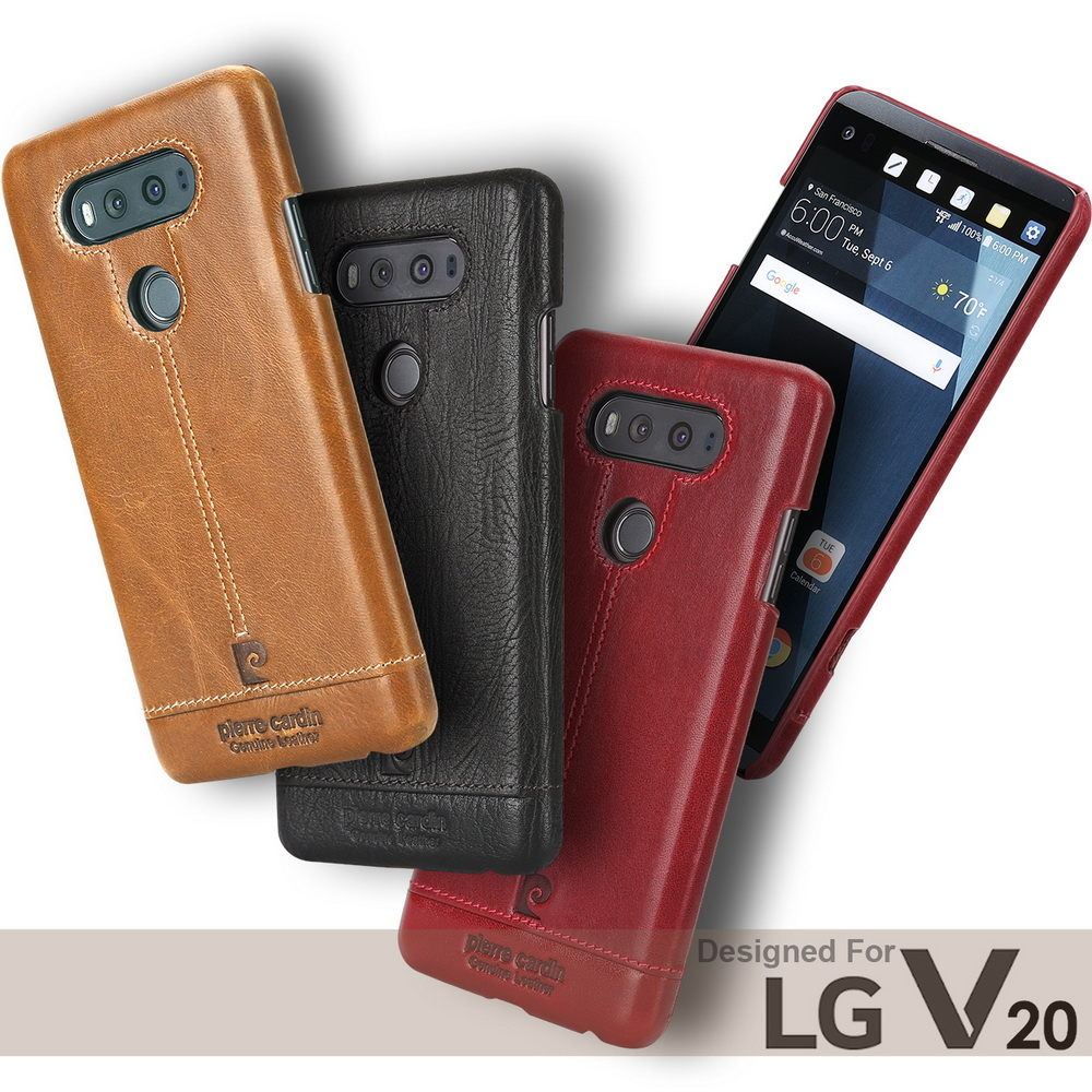 imágenes para Pierre Cardin Cosido Del Cuero Genuino Para LG V20 V10 G4 G5 Cubierta Trasera Dura de Lujo de la Marca Original Delgado Teléfono Móvil Casos
