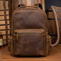 Crazy Horse пояса из натуральной кожи рюкзак винтаж школьные ранцы для подростка путешествия мужской sac dos masculina mochila hombre2018