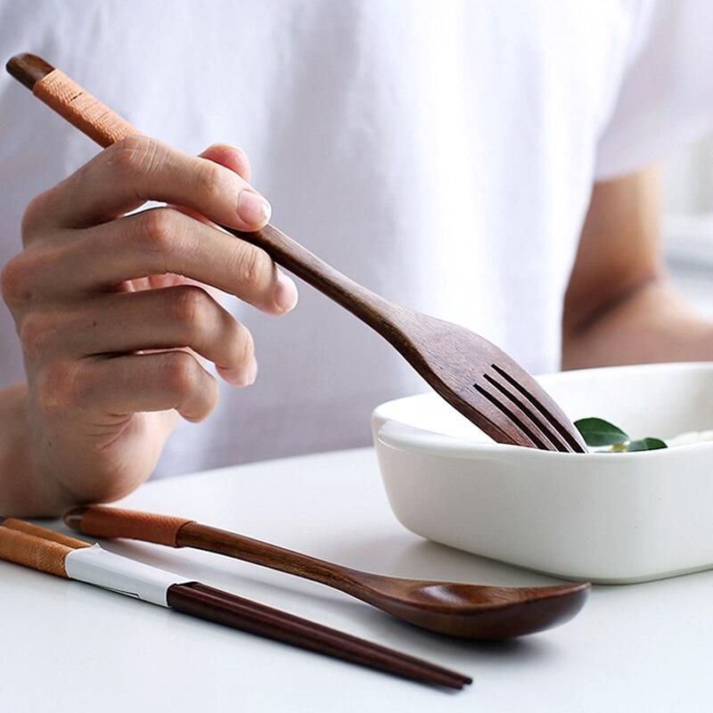 Wooden Dinnerware Set Japanese Style Wood Spoon Fork Chopsticks Set Long Handle Soup Spoon Salad Fork Portable Picnic Cutlery Set (8)