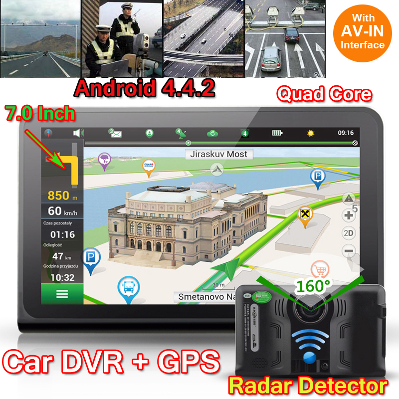 7inch Car DVR Radar detector Android 4.4 16GB Full HD 1080P GPS Navigation Rearview mirror Car-Detector Dash Cam Dual Camera Map