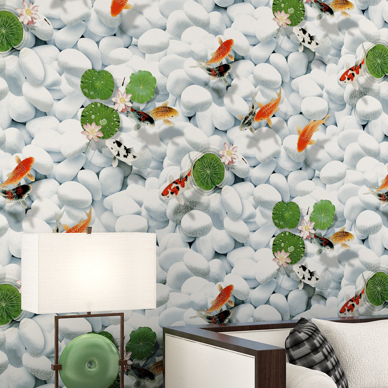 ФОТО 2016 new Chinese style smooth non-woven wallpaper murals Goldfish sitting room wall of setting of the study