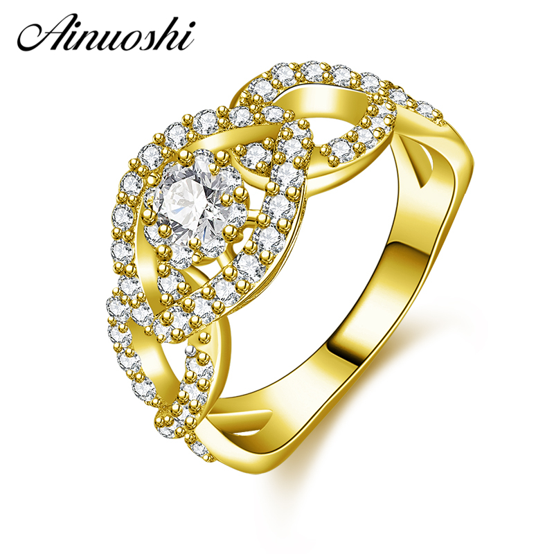 цены на AINUOSHI 10K Solid Yellow Gold Hollow Leaf Wedding Band Cluster Bending Bague Bridal Ring Engagement Ring Jewelry for Women Male