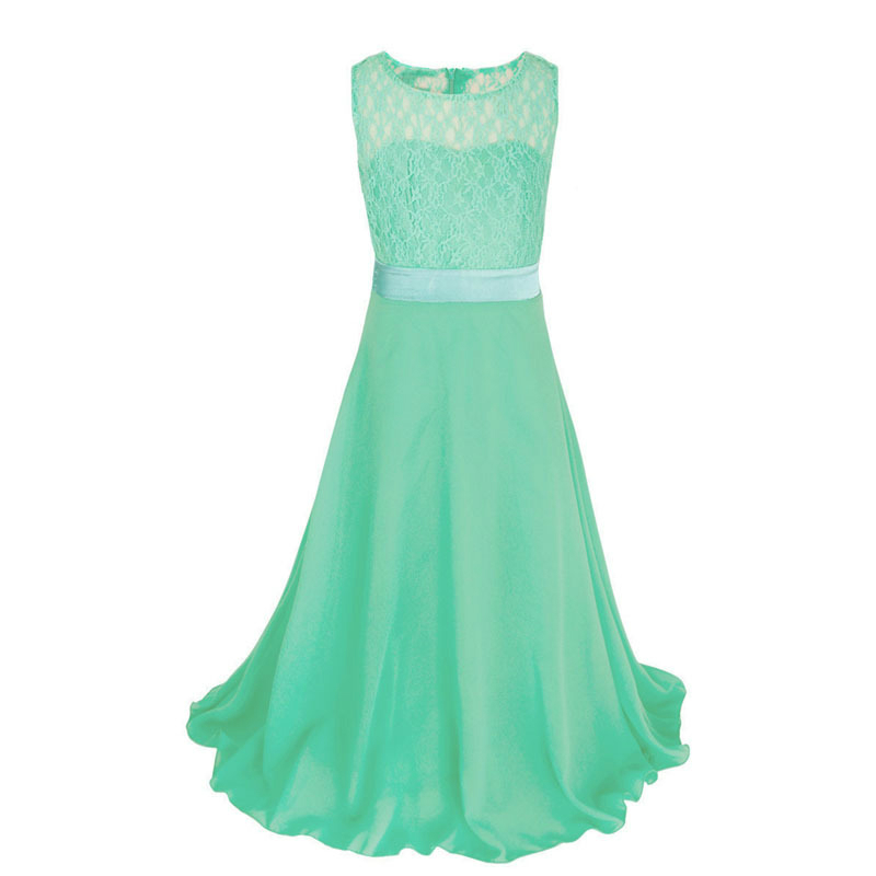 Buy green lace long dress girl wedding for Big girl wedding dresses