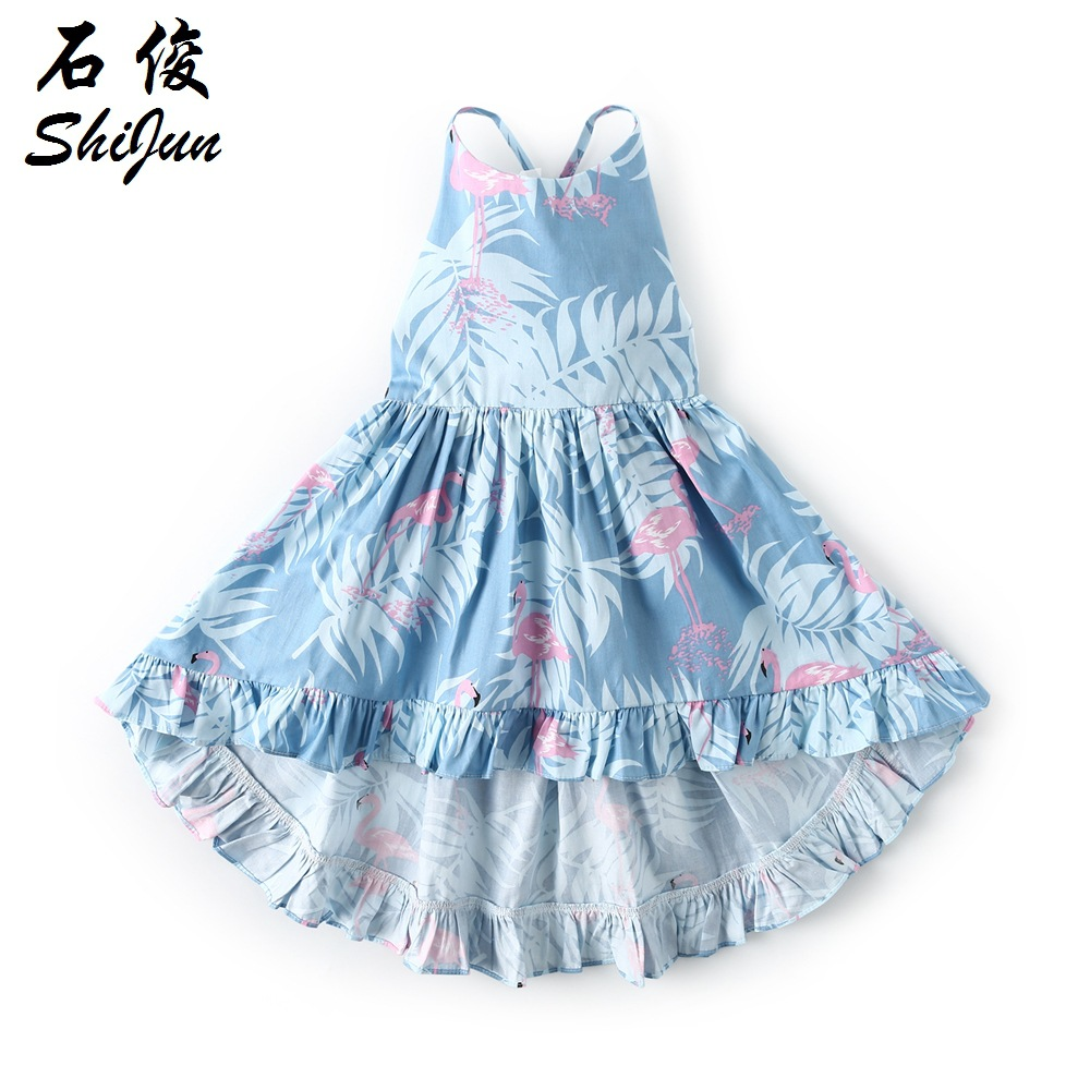 2019 ins Baby Girls Floral Print Ruffles Asymmetrical Dress Children Holiday Party Princess Tutu Sling Backless