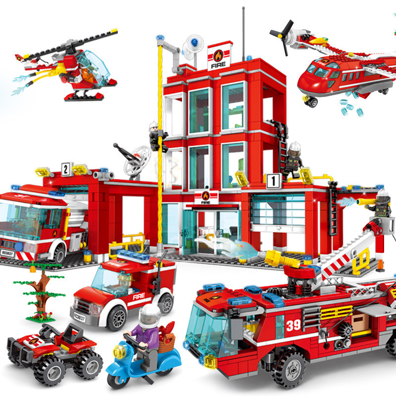 Fire Fighting Trucks Car Helicopter Boat Building Blocks Fire Station Compatible Legoing City Firefighter Figures Children Toys