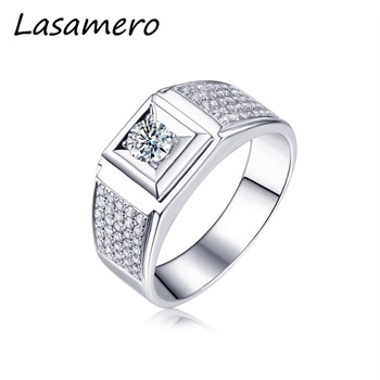 1ccc256d5c9d Lasamero Anillos para hombres 0.304ct corte redondo natural Diamond 18 K  anillo de compromiso de oro blanco
