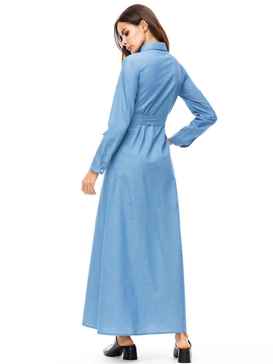 2019 плюс размер вышитое джинсовое платье с длинными рукавами женское осеннее длинное платье-рубашка с воротником на пуговицах с поясом 7292 #