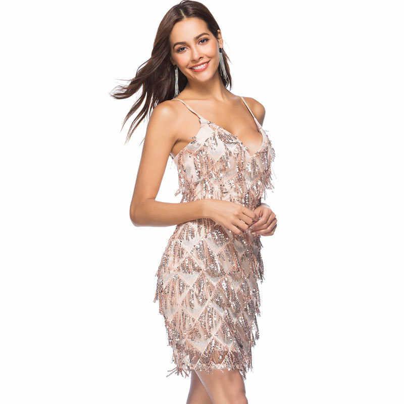Летнее женское платье 2019 элегантное сексуальное вечернее платье без спины без рукавов с глубоким v-образным вырезом и кисточками