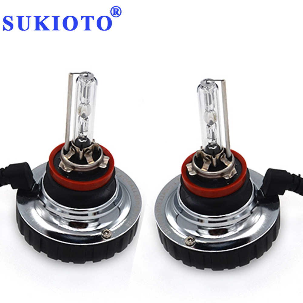 SUKIOTO Plug and Play 55W H11 xenon bulbs 6000K white mini HID headlight low beam Near Light H11 all in one hid conversion kit