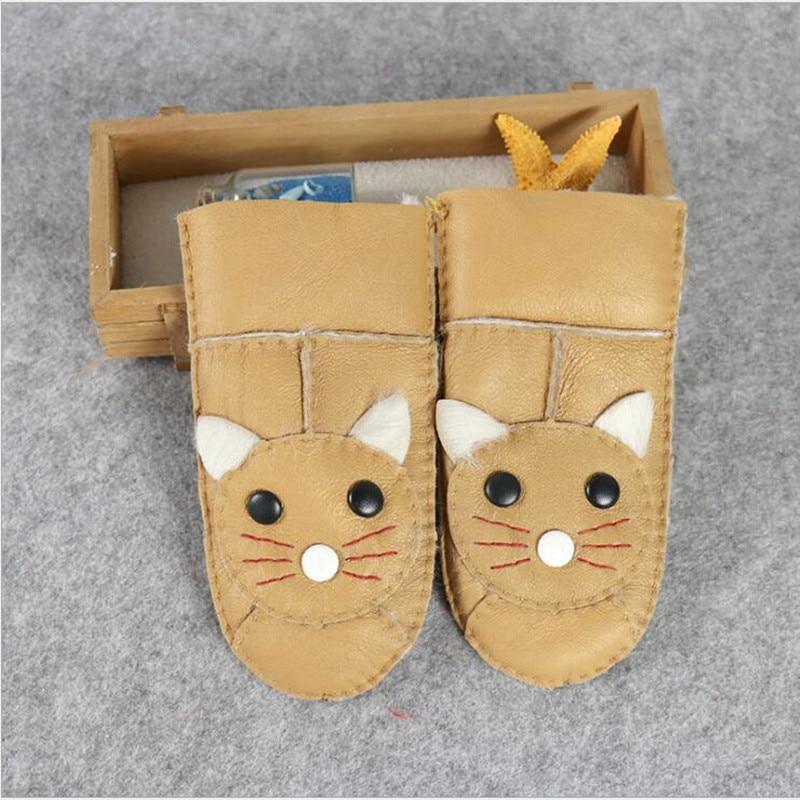 Bambini caldo inverno davvero pelle di pecora guanti cartone animato