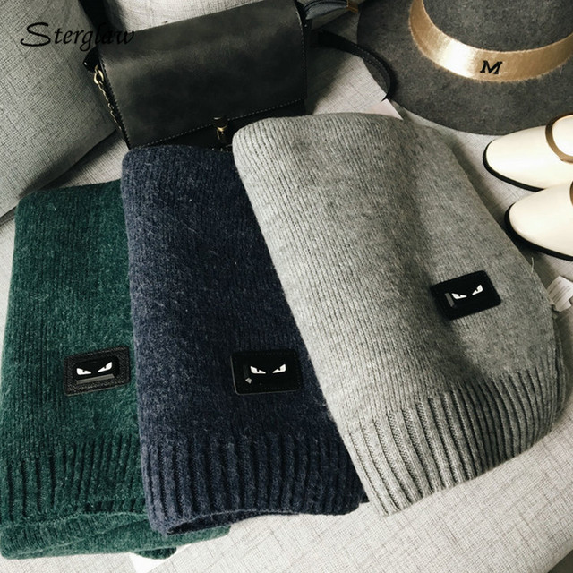 200cm Solid color wool warm scarf women winter scarf luxury brand scarves 2017 Russian knitted scarves echarpe hiver femme C021