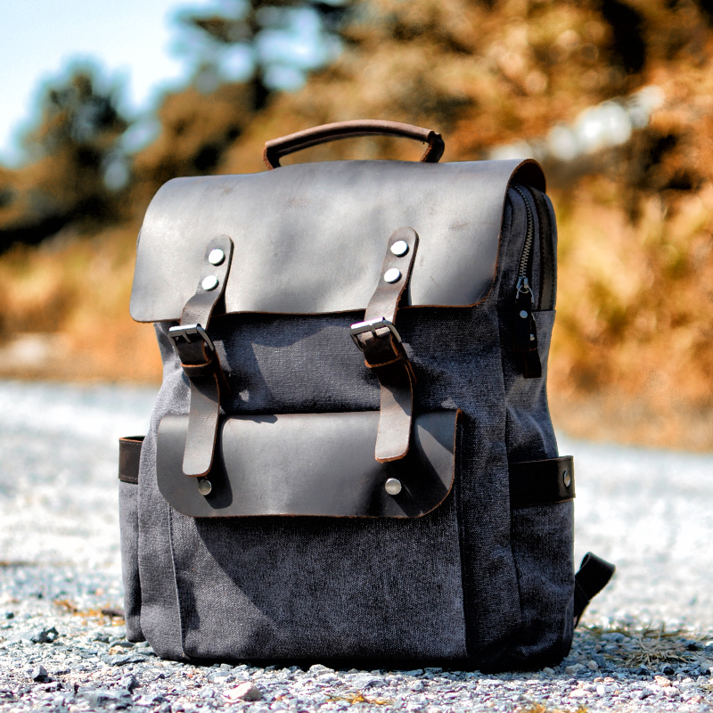 MUCHUAN Vintage Canvas Leather Backpacks for Men 14 Laptop Daypacks Waterproof Canvas Rucksacks Large Waxed Travel