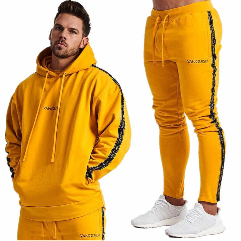 2019 NIEUWE Sportscholen streep mannen Sets Sportkleding Trainingspakken Sets mannen Truien + Broek Running Suits mannen sport Past trainingspak hoodies