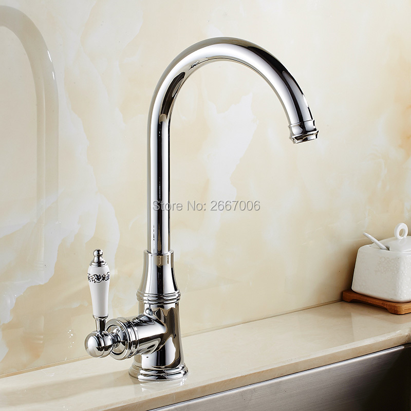 Free Shipping European Style Chrome Polished Faucet Swivel Spout Ceramic Handle Bathroom Kitchen Vanity Sink Mixer Tap ZR615 led spout swivel spout kitchen faucet vessel sink mixer tap chrome finish solid brass free shipping hot sale