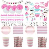 Baby Shower Roze Decoraties Papier Banner Garland Papier Pompoms Papier Cups Platen Rietjes Party Servetten Ballon Foto Boooth Prop