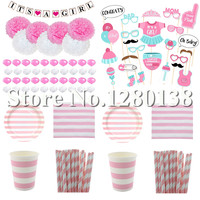 Baby Shower Pink Decorations Paper Banner Garland Paper Pompoms Paper Cups Plates Straws Party Napkins Balloon