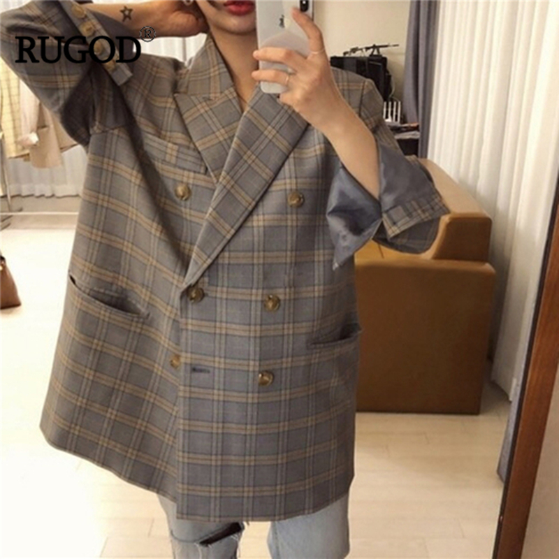 RUGOD Plaid Elegant Office Ladies Women Blazer Notched Collar Pocket Loose Oversize Vintage Classic Coat Fashion Streetwear 2019