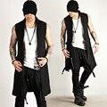 Lo nuevo de Corea hombres de La Moda Tops Camisas Cierre de Correa Acento Negro Largo Chaleco Para Hombre Delgado Chaqueta Sin Mangas Del Chaleco