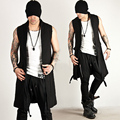 Newest Korea Men's Fashion Tops Shirts Strap Closure Accent Black Long Vest Mens Slim Sleeveless Jacket Waistcoat
