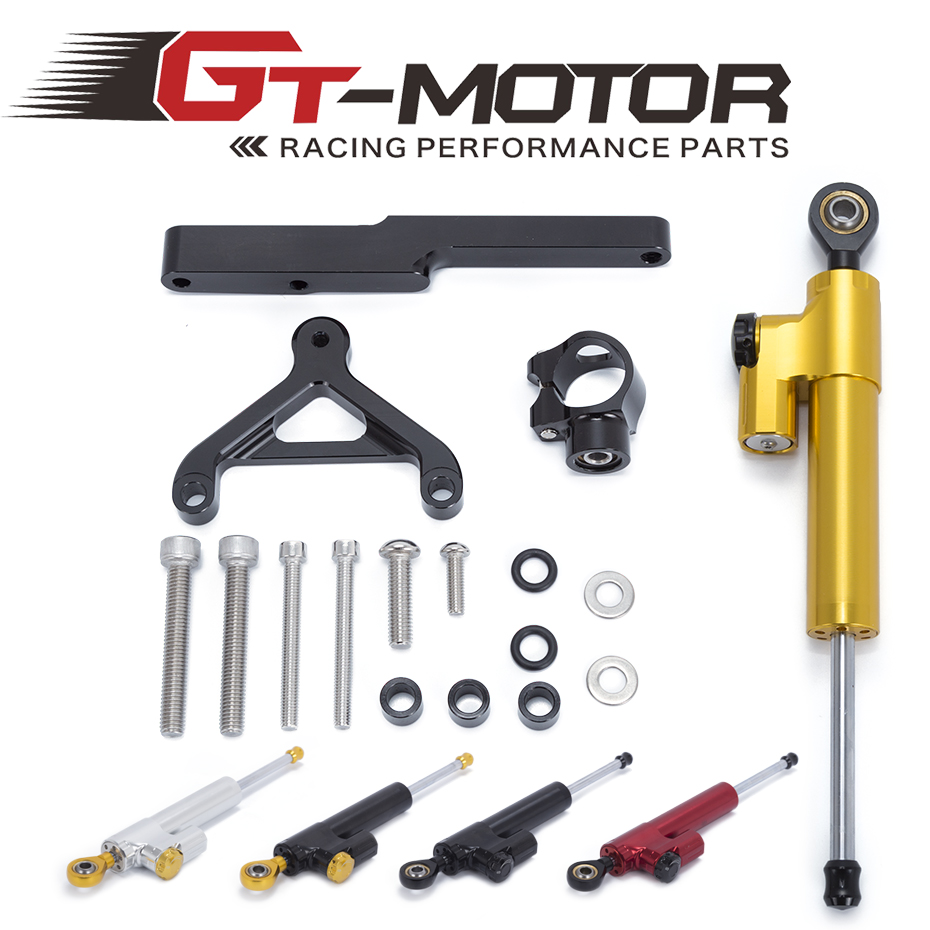 GT Motor Motorcycle CNC Steering Damper Stabilizerlinear Reversed Safety Control with Bracket For HONDA CB1000R 2008