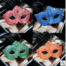 Free shipping Pure manual refined high-grade luxury elegant Venetian style lace diamond masquerade mask