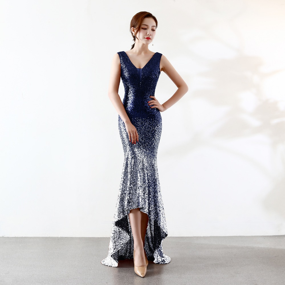 Summer Dress Women Gold Silver Sequin Dress V Neck Evening Party Dress Memaid Gown Elegant Sexy