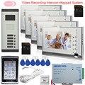 7-дюймовый цветной видеодомофон  система внутренней связи для 5 домов  видеодомофон с записью  кнопочная панель  система контроля доступа