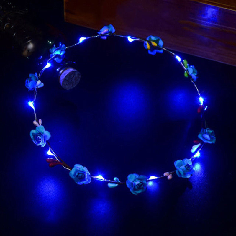 LED Hawaiian Light Up Flower Garlands Necklace Glowing Flash Party Hula Costume