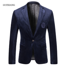 2017 New Arrival Style men boutique blazers high quality fashion casual slim solid one single breasted men velvet suit jacket