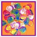 [LESIDA] Mão-Pintado Flores Ben Padrão Quadrado Pequeno Lenços de Seda, Primavera E Outono Selvagem Cachecol Feminino 6013