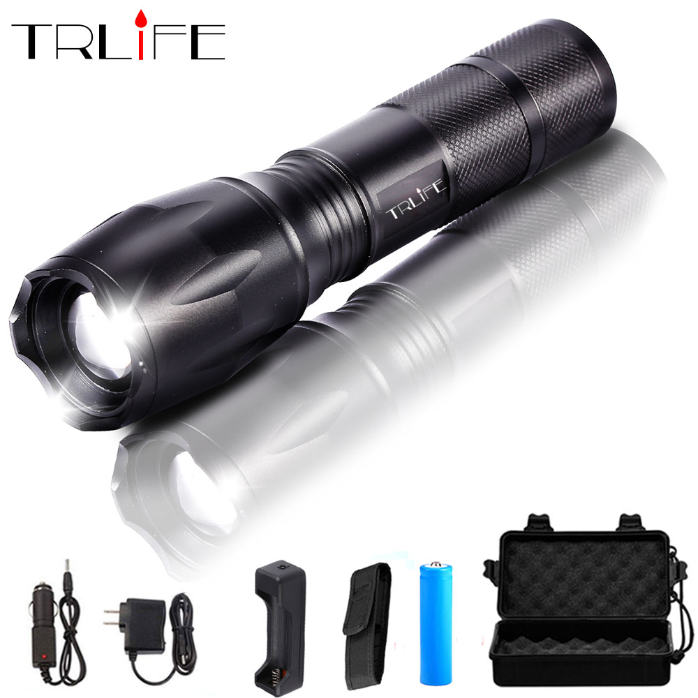 E17 Flash Lighs L2 T6 Aluminum Waterproof Zoomable 5 Modes LED Flashlight Torch With 18650 Rechargeable Battery Or AAA