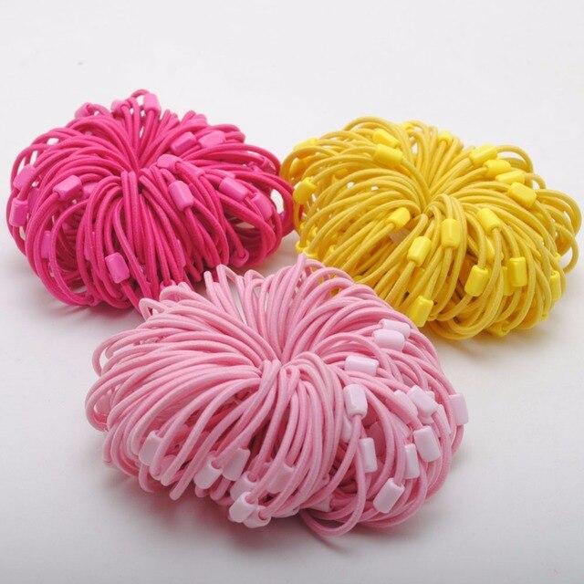 96 PCS Girls DIY Hair Scrunchies Plastic Beads Hair Scrunchy Hair  Accessories Hair Bands Ties Ponytail Holder Elastic Headbands 93a31a0216a