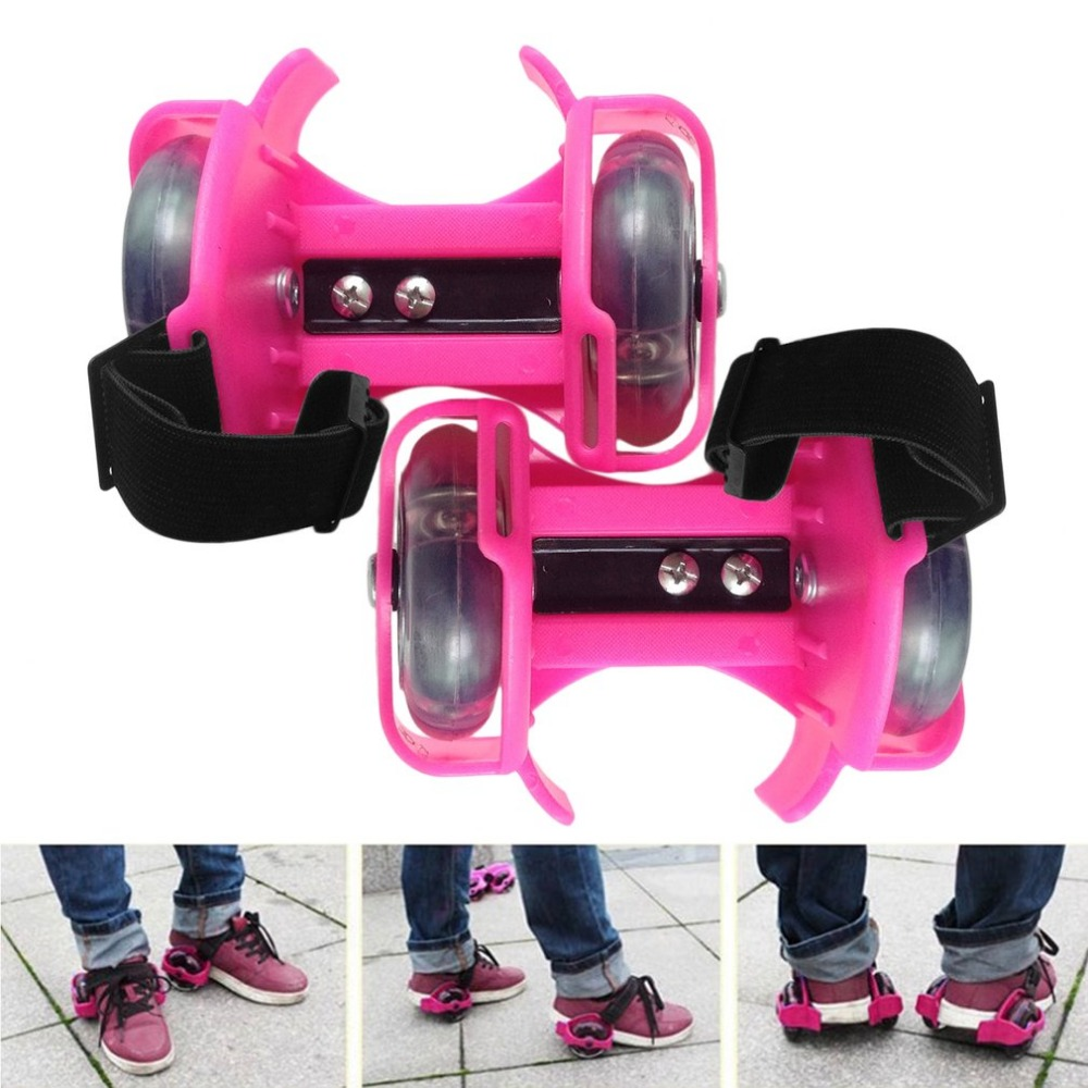 3-Colors Colorful Flashing Roller Whirlwind Pulley Flash Wheels Heel Roller Adjustable Simply Roller Skating Shoes Kids Adult