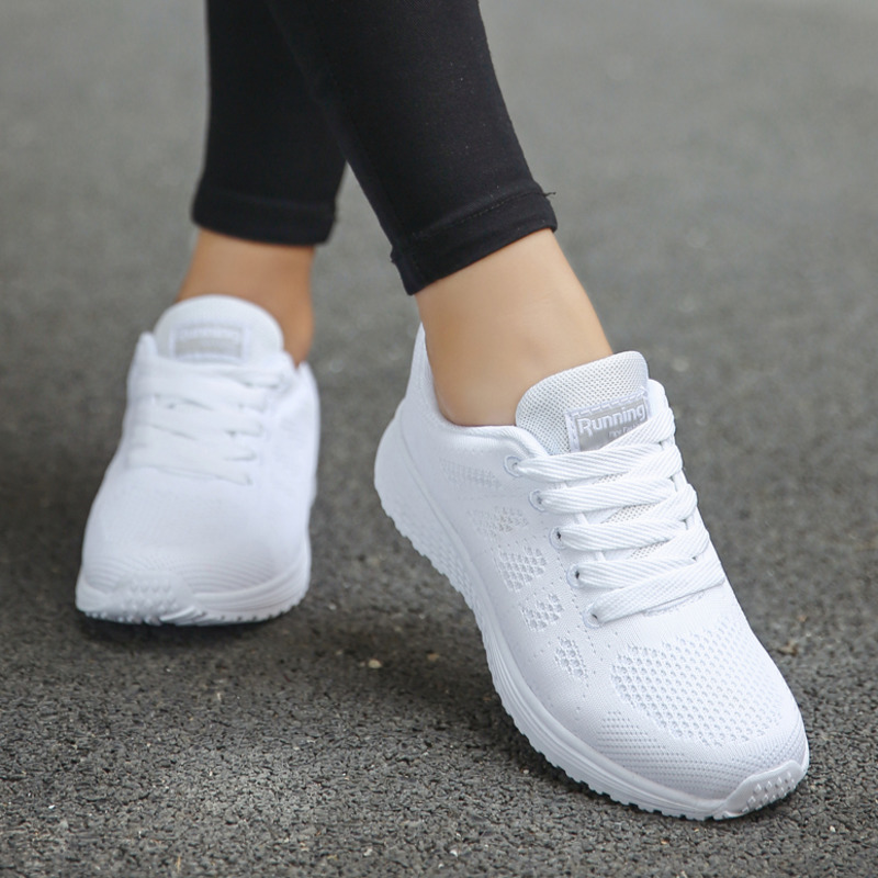 Sport-Shoes Sneakers Tenis Feminino White Fashion Women Light Lace-Up For Round Cross-Straps