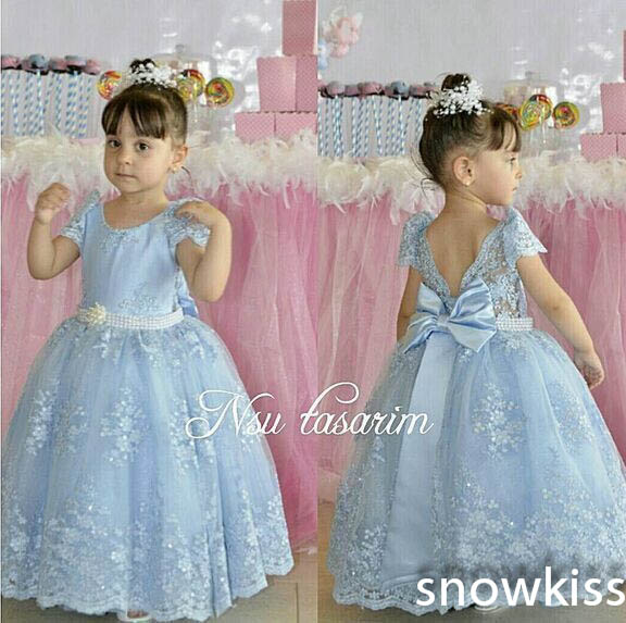 Light Blue Bling Beading and Lace flower girl dresses with Bow Short Sleeves first communion baby wedding occasion ball gowns light blue stripe pattern off shoulder short sleeves playsuit