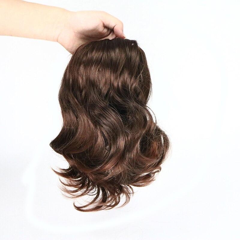 שיער גלי קצר סורי 2 מזויף קליפ בתוספות שיער סינטטי עמיד בחום Hairpieces קוקו שקר מזויף טבעי נשים שיער