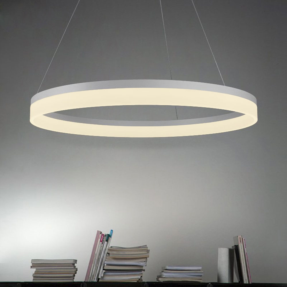 Современные светодиодный подвесной светильник акрил кольцо алюминиевые картины 90 265 В подвесные светильники для жизни столовая Бесплатная