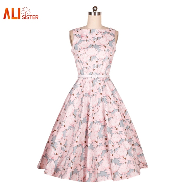 2017 New Flower Print Dress Audrey Hepburn Dress Vintage Ball Gown Evening Vestido Party Dress Women Summer Dresses Plus Size
