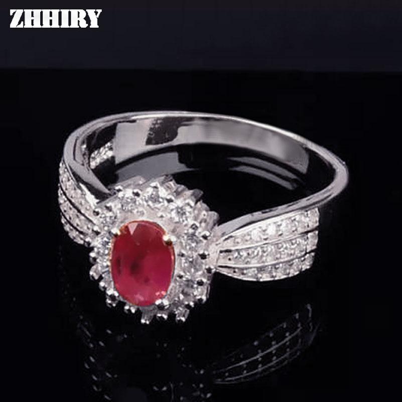 ZHHIRY prawdziwy naturalny rubinowy pierścień oryginalna 925 Sterling Silver cenny czerwony klejnot kamień pierścienie dla kobiety Fine Jewelry Noble królewski w Pierścionki od Biżuteria i akcesoria na  Grupa 1
