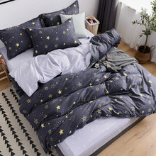 Home Textile Grey bedding star duvet cover set Printed bed sheet +duvet cover +pillowcase bed cover blue AB side bedlinen set(China)