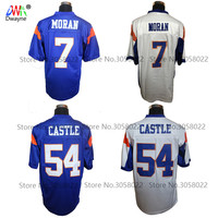 Free Shipping Blue Mountain State Football Jersey 54 Thad Castle Blue 7 Alex Moran Stitched Movie