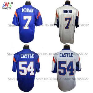 ac5e6502049 Mountain State Football Jersey Blue 54 Thad Castle Blue 7 Alex Moran  Stitched Movie