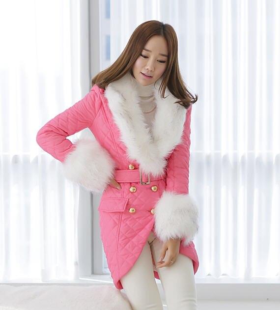ФОТО 2013 winter female korean fashion brand designer women large faux fox fur collar long  irregular slim wadded jacket S-XXL D2033