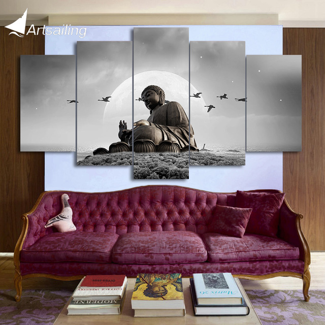 Hd Printed 5 Piece Canvas Art Buddha Painting Posters Prints Home Ny-7148b
