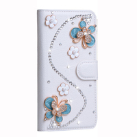 3D Blue Butterfly DIY Handmade Diamond Rhinestone Wallet Leather Case For Oneplus 5 Magnetic Flip Cover