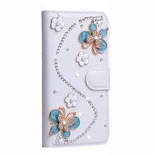 3D голубая бабочка поделки ручной работы алмаз горный хрусталь Бумажник кожаный чехол для OnePlus 5 Магнитный откидная крышка Подставка телефона