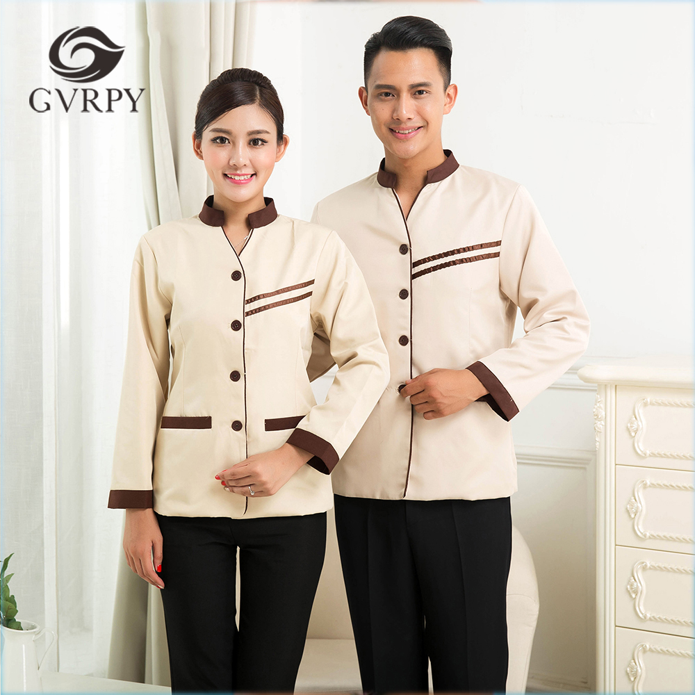2019 Spring Hotel Workwear Cleaning Jacket Long Sleeved Housekeeping Cleaning Service Women Traditional Hot Sale Waiter Uniforms